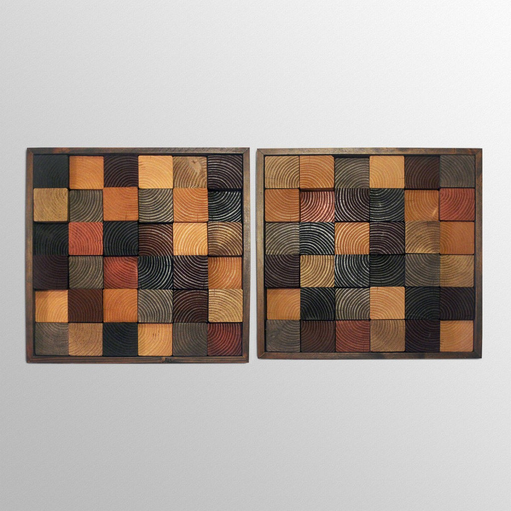 Wood Wall Art   Black And Tan   Wood Wall Art End Grain Squares