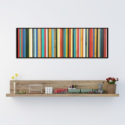 Brighton red, blue, and yellow wood wall art above toy shelf