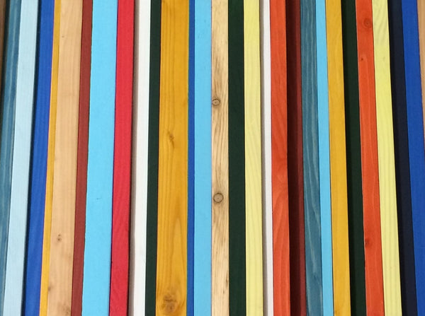 Brighton red, blue, and yellow wood wall art texture detail