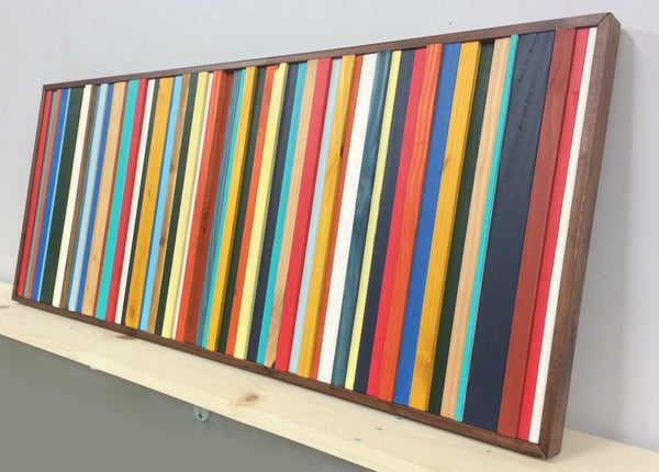 Brighton red, blue, and yellow wood wall art horizontal angle