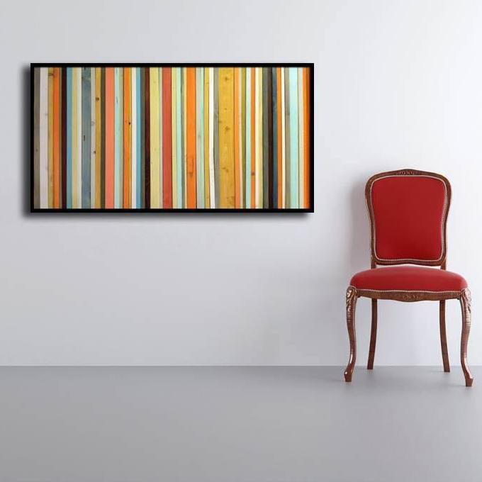 Coral Reef - Reclaimed Wood Wall Art in Orange, Yellow, Coral, Teal ...