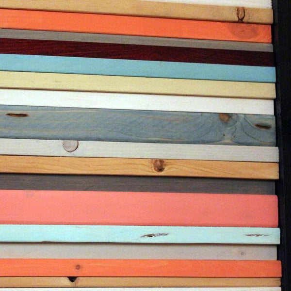 Wood Wall Art - Coral Reef - Reclaimed Wood Wall Art In Orange, Yellow, Coral, Teal