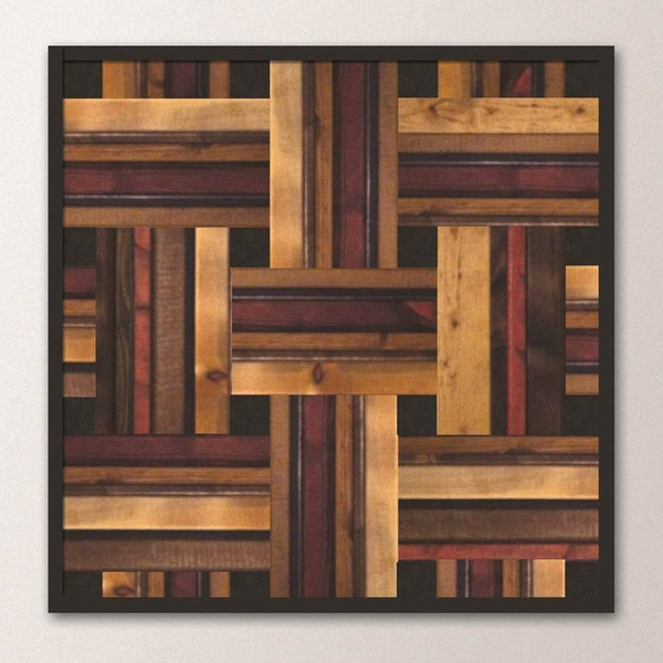 Wood Wall Art - Stained Wood Weave