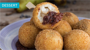 Arancini (ficoccelle) with pears and chocolate
