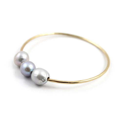 Free to Be Me Jewelry Triple Fresh Water Pearl Bangle