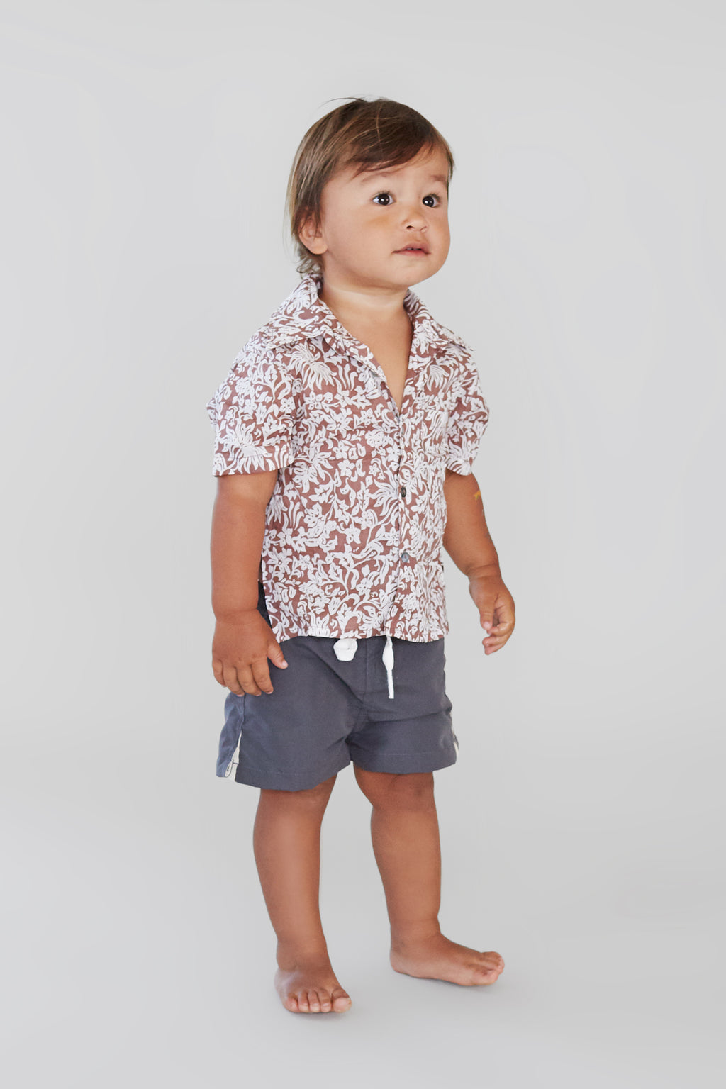 ACACIA KIDS Aloha Shirt | Brown Batik