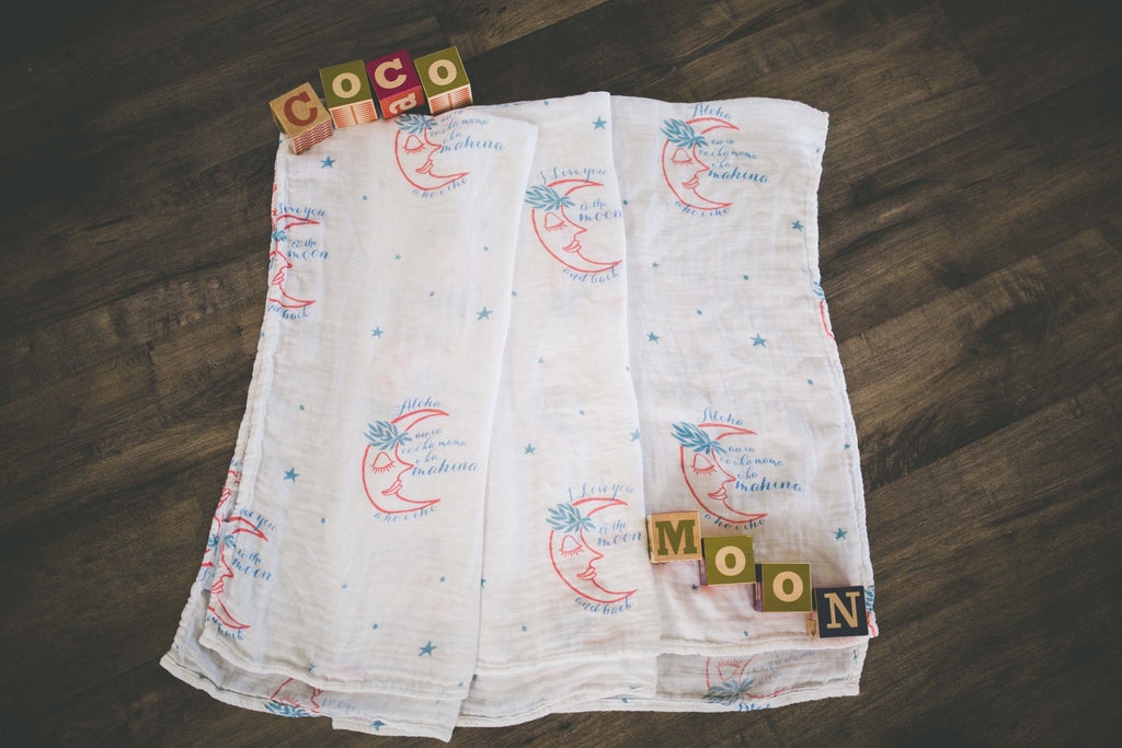 COCO MOON Swaddle Blanket | Love You to the Mahina and Back