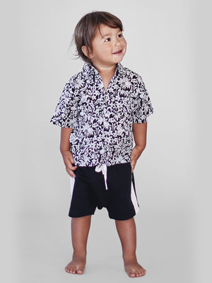 ACACIA KIDS Aloha Shirt | Black Batik