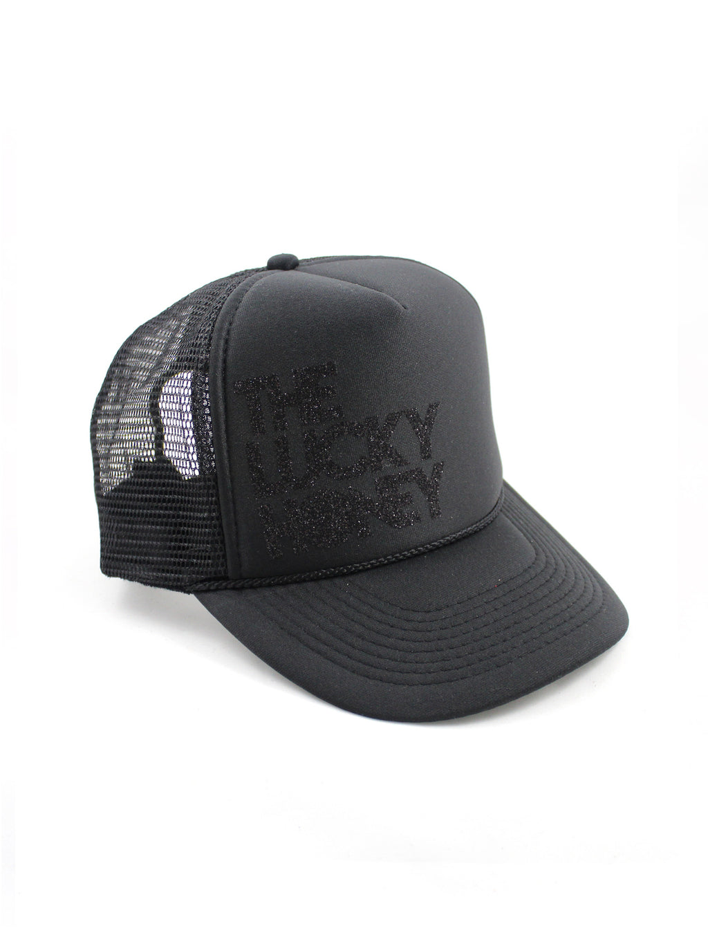 THE LUCKY HONEY Hat | Black/Black Glitter