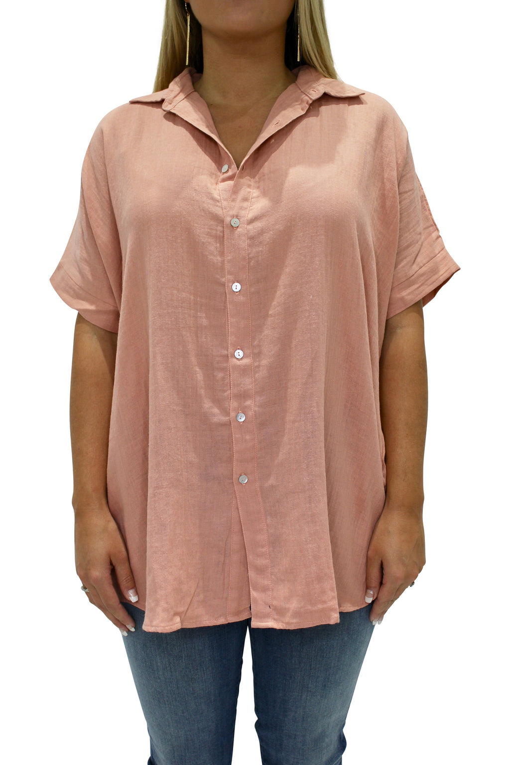 ACACIA Mombasa Button Up | Pink Lemonade