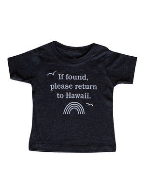 LUCKY WE LIVE HAWAII If Found Kids T-Shirt | Black