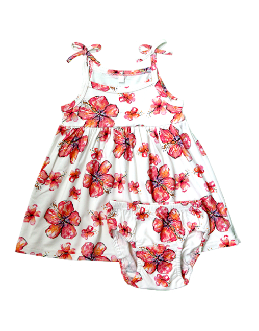COCO MOON Infant Dress + Bloomers | Hibiscus