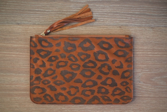 ALOLA MAUI Cheetah Dreams Leather Clutch | Teak