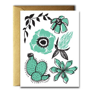 NATIVE BEAR Greeting Card | Cactus & Poppy Turquiose