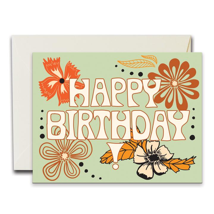 NATIVE BEAR Greeting Card | Happy Birthday Flowers