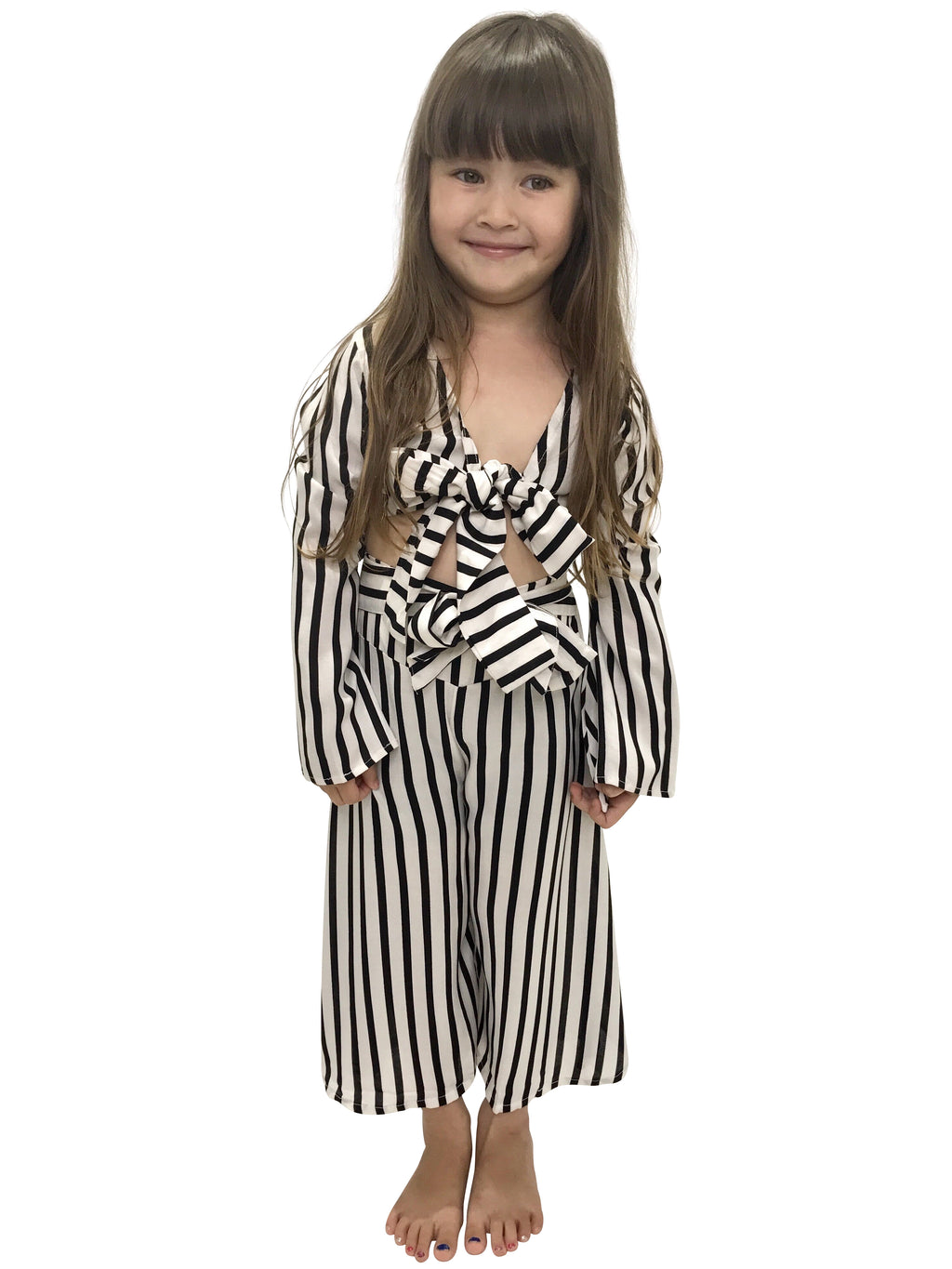 CINTA CHILD Bell Sleeve Wrap Top | Black & White Stripes