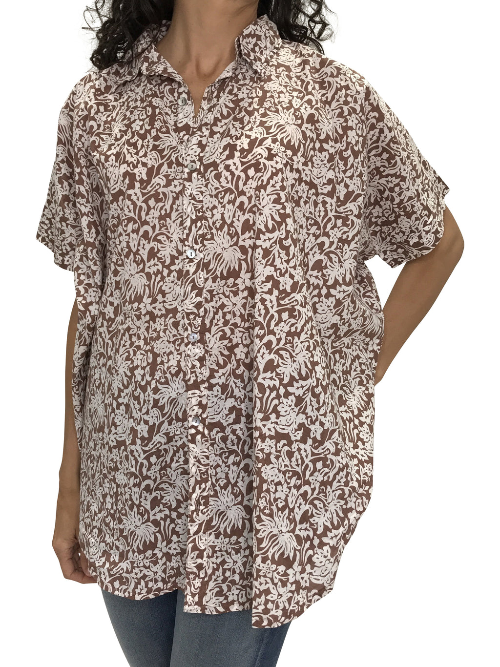 ACACIA Mombasa Button Up | Brown Batik