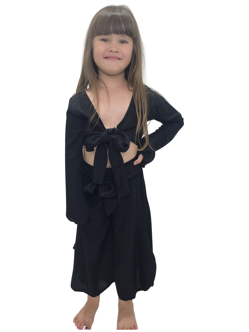 CINTA CHILD Bell Sleeve Wrap Top | Black