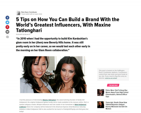 5 Tips on How to Build Your Brand by Working With the World's Greatest Influencers by Maxine Tatlonghari of the Original Vanity Girl Hollywod and Vanity Girl Pop Up