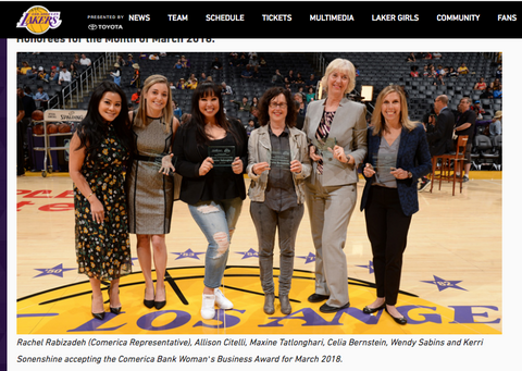 "Maxine Tatlonghari of Vanity Girl Hollywood honored as Comerica Bank x Los Angeles Lakers ""Woman of Entrepreneurship"""