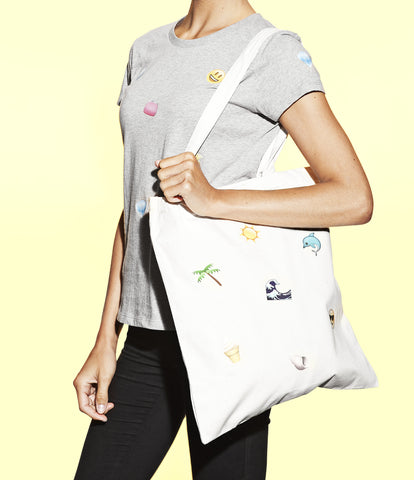 customized emoji beach tote bag