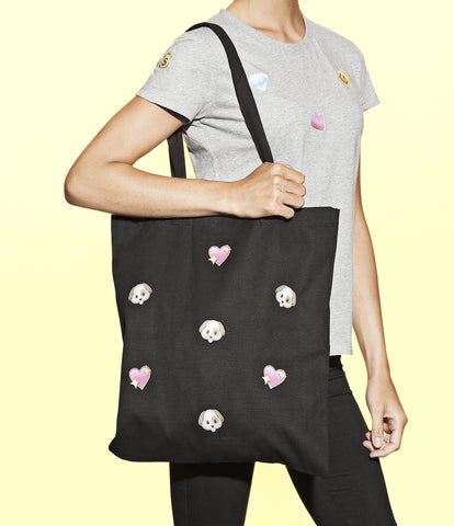 dog emoji tote bag