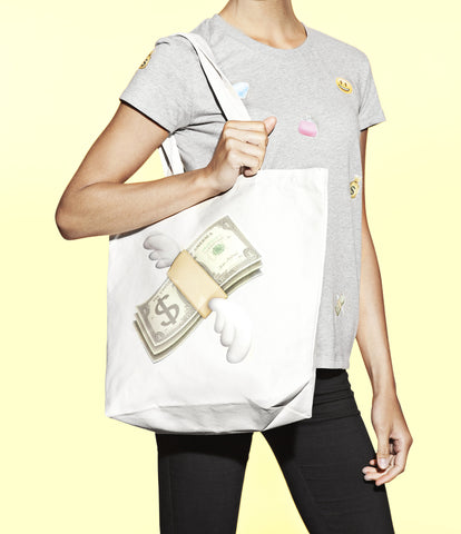 cool money with wings emoji print bag