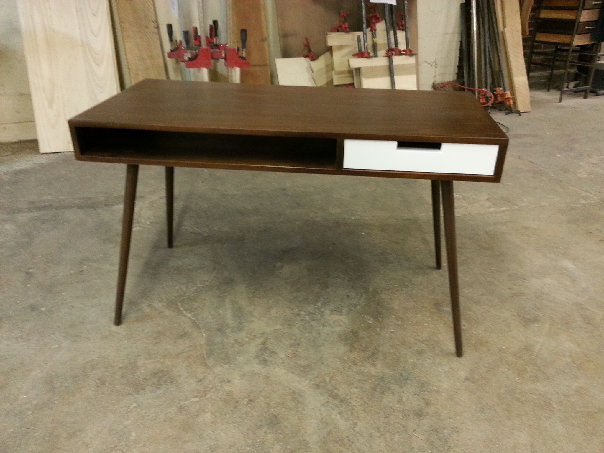 Wood Modern Furniture. Solid Wood Mid Century Modern Desk With Drawer    Flint Alley