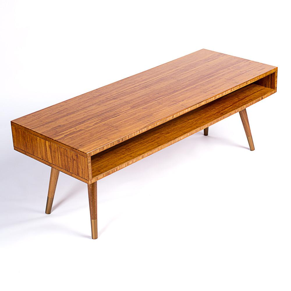 Mid Century Modern Coffee Table Solid Bamboo Cocktail