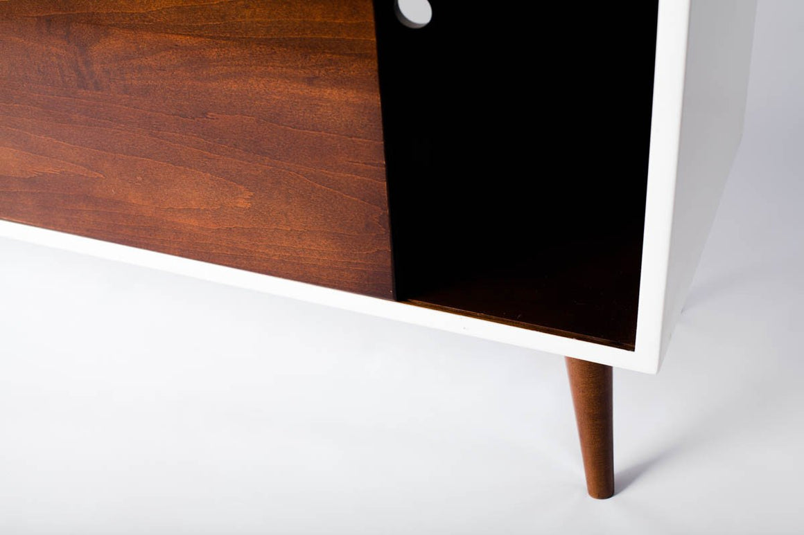 White Laquered Mid-Century Modern Media Console - Flint Alley Furniture. Custom Handmade  Mid-Century Modern Furniture
