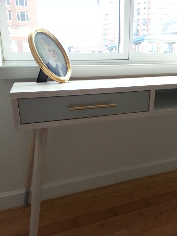 Mid Century Desk. Solid Ash with Brass Accents. Mid Century Modern