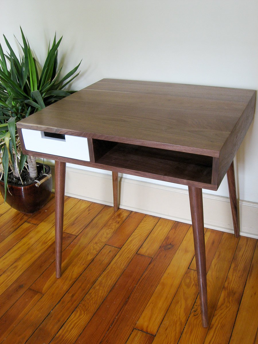 "Mid Century Inspired Writing Desk With Drawer. 32""x 24"" Solid Wood.Writing/Study/Computer Desk/Vanity - Flint Alley Furniture. Custom Handmade  Mid-Century Modern Furniture"