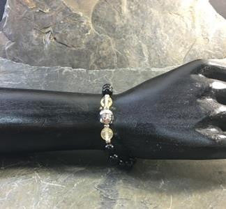 Buddha Bracelet with Onyx and Citrine Stones