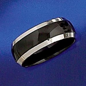 Ring - Enamelled Black Band - Stainless Steel