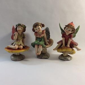 Figurine - Fairy on Mushroom - 3 Different Poses