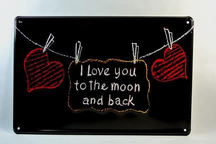"metal sign - i love you to the moon and back - 12""WX8""H"