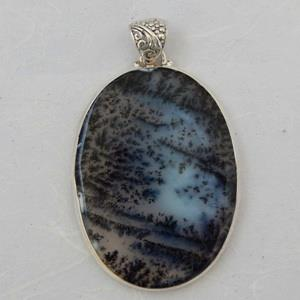 Dendritic Agate pendant in sterling silver