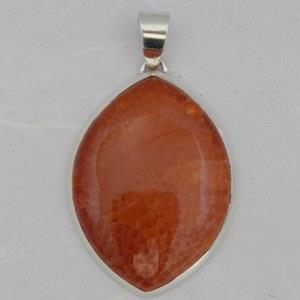 Marquis shaped fire agate pendant