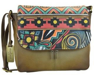 Anuschka Antique Aztec Zip Around Organizer Satchel