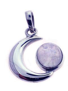 Pendant - Moonstone Crescent - Sterling Silver