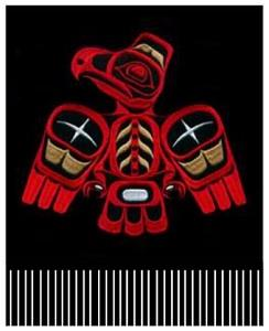 Red and black power eagle design merino wool scarf