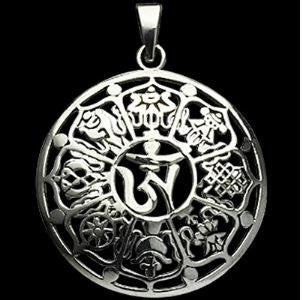 om symbol pendant with 8 auspicious symbols of buddhism