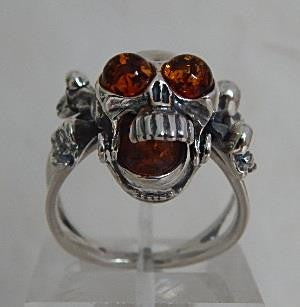 Sterling Silver Skull Ring with Baltic Amber Eyes and Mouth Stone
