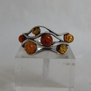 Ring - Amber & Sterling Silver - Waves