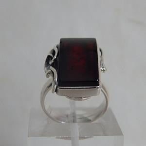 Ring - Amber & Sterling Silver - Size 6.5