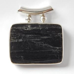 Rectangular Black Tourmaline Pendant set in 925 Sterling Silver