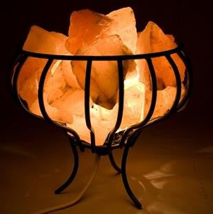 Himalayan Salt Lamp - Wire Caged Fire Basket