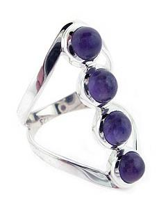 Amethyst Ring in Sterling Silver with four cabochons