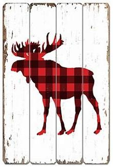 Red and black plaid moose silhouette vintage style sign