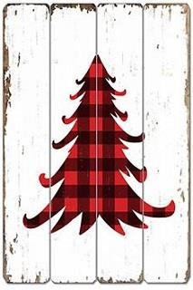 Tree in black and red plaid